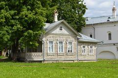Old wooden house inside Vologda Kremlin Russia. View of old wooden house inside Vologda Kremlin Russia stock images