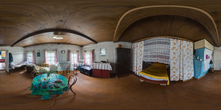 Old wooden house interior spherical panorama 1 Stock Photos