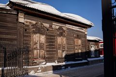 Old wooden house in the Irkutsk city Stock Image