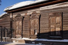 Old wooden house in the Irkutsk city Stock Photography