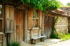 Old wooden house in Jeravna, Bulgaria. 300-years old wooden house in Jeravna village, Bulgaria, a village-museum Royalty Free Stock Photography