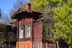 Old wooden house near a green tree on a sunny day. Russia Stock Photography