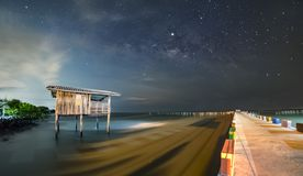 Old wooden house, no longer living in the sea, no way up the house Taken with the Milky Way as the back ground.  royalty free stock photography