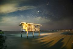 Old wooden house, no longer living in the sea, no way up the house Taken with the Milky Way as the back ground.  stock images