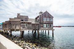 Old wooden house at the oceanfront of San Diego Seaport Village. Travel photography royalty free stock photo