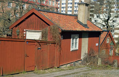 Old wooden house in the old quarter in Stockholm Stock Photos