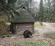Old Wooden House, park Shevchenko, Ukraine, Lviv. Small house in the forest near the road Royalty Free Stock Photos