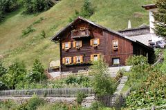 Old wooden house in the Passeier Valley Stock Photos