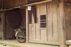 Old wooden house of poor people at countryside in Asia, simply. Life Stock Images