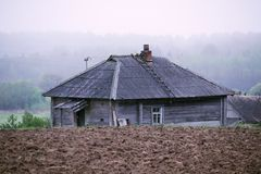 An old wooden house in Russian countryside royalty free stock images