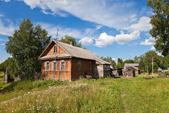 Old wooden house in russian village Royalty Free Stock Photos