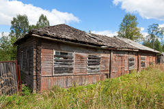 Old wooden house in russian village. Royalty Free Stock Images