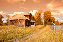 Old wooden house in russian village Stock Photography