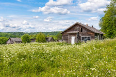 Old wooden house in Russian village Royalty Free Stock Images