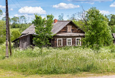 Old wooden house in Russian village Royalty Free Stock Photo