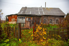 Old wooden house in a Russian village Stock Images