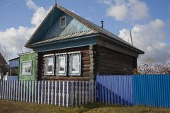Old wooden house in Russian village. Old wooden house in Russian small village stock photography