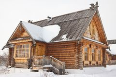 Old wooden house in village Stock Photo