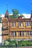 Old wooden house in Samara city center. Royalty Free Stock Photo