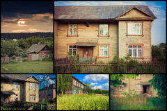 Old Wooden House Set, Collage Royalty Free Stock Images