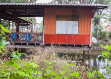 Old wooden house Thailand house. Riverside traditional Royalty Free Stock Images