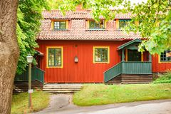 Old wooden house. Traditional old house at Skansen, the first open-air museum and zoo, located on the island Djurgarden in Stockholm, Sweden Stock Photo