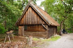 Old wooden house. Traditional old wooden house at Skansen, the first open-air museum and zoo, located on the island Djurgarden Stock Photos