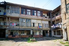 Old wooden house view from the courtyard. royalty free stock photos