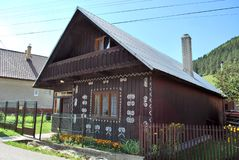Old wooden house in village Cicmany. Slovakia stock images