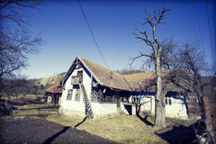 Old wooden house in village in Transilvanya Royalty Free Stock Photos