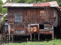 Old wooden house wall and decay zinc window Royalty Free Stock Photography