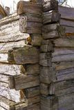 Old wooden house wall of logs for background, wallpaper. Screen saver royalty free stock photos