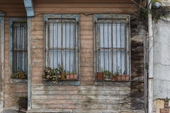 Old wooden house wall paneling and window Royalty Free Stock Photos