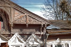 Old wooden house in Kostroma royalty free stock image