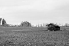 Old wooden house in wide field stock photo