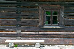 Old wooden house window. royalty free stock image
