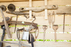 Old wooden household tools Stock Photography