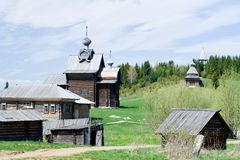 Old wooden houses. Hohlovka. Perm. Ural. Russia Royalty Free Stock Photo