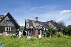 Old wooden houses. In front of sky Royalty Free Stock Images