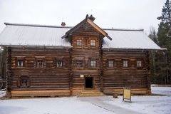 Old wooden houses in the ethno-village, Russia Stock Photo