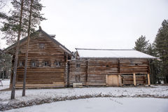 Old wooden houses in the ethno-village, Russia Stock Images