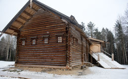 Old wooden houses in the ethno-village, Russia Royalty Free Stock Image