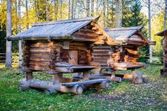 Old wooden wooden houses for food storage royalty free stock photo