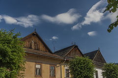 Old wooden houses in Kezmarok Slovakia historical town. Old wooden houses in Kezmarok Slovakia old historical town stock photography