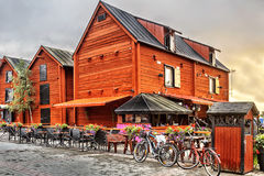 Old wooden houses in the old center around the harbor of Oulu. royalty free stock photography