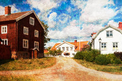 Old wooden houses in Pataholm, Sweden Stock Image