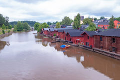Old wooden houses on river coast, Porvoo, Finland Royalty Free Stock Photos