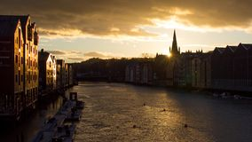 River Nidelva in Trondheim seeing during sunset royalty free stock photo