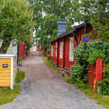 Old wooden houses. In Tammisaari, Finland at rainy day stock photo