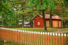 Old wooden houses. Traditional old houses at Skansen, the first open-air museum and zoo, located on the island Djurgarden in Stockholm, Sweden Royalty Free Stock Photos